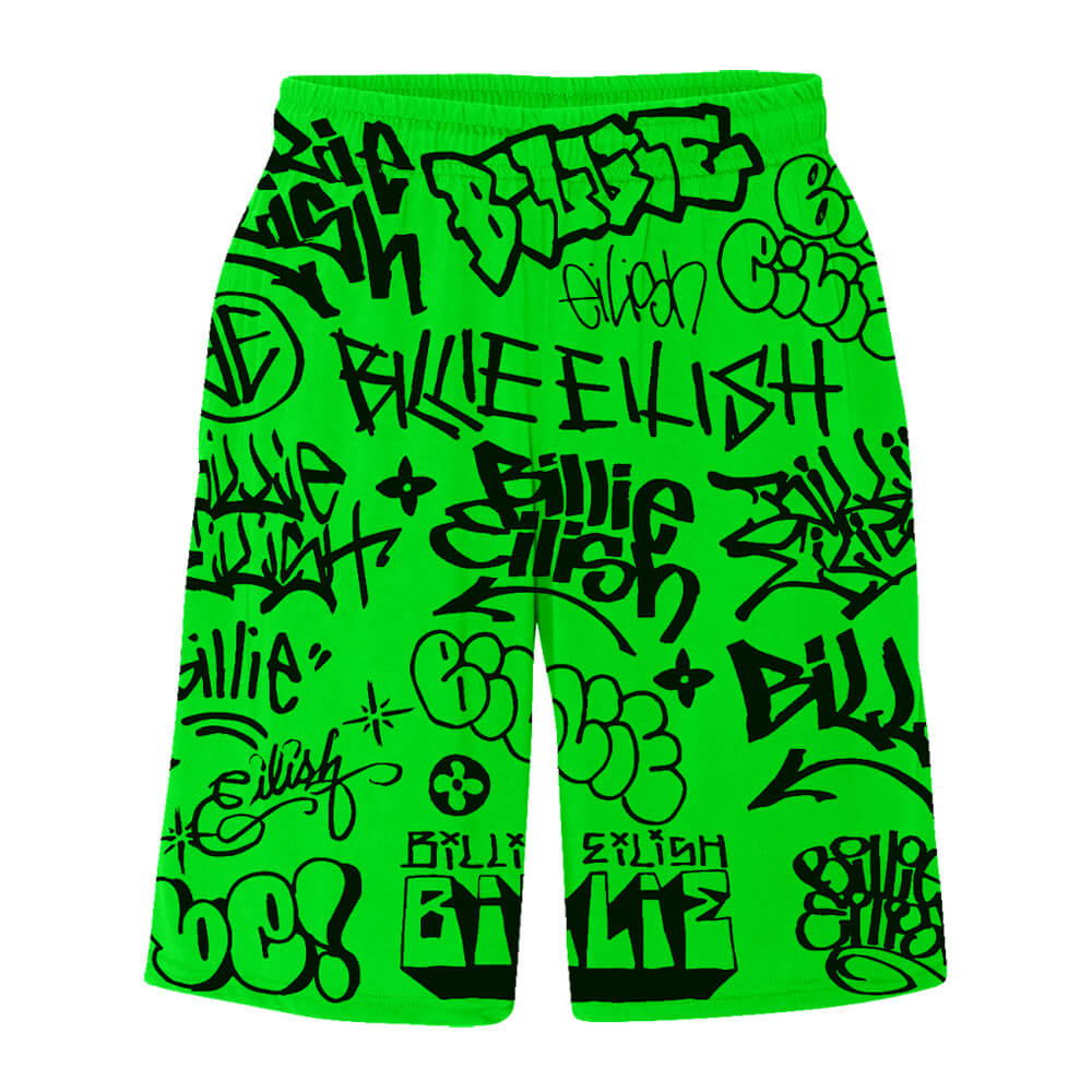 Billie Eilish Billie Eilish X Freakcity Green Graffiti Billie Eilish Shorts