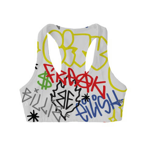 Billie Eilish Billie Eilish X Freakcity Graffiti Billie Eilish Sports Bra
